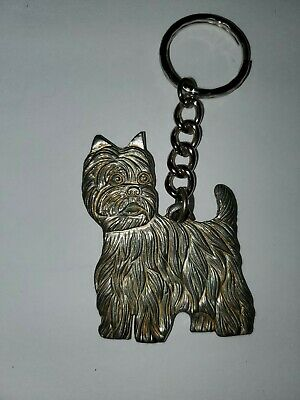 VINTAGE West Highland White Terrier Key ring Silver Color Solid Keychain