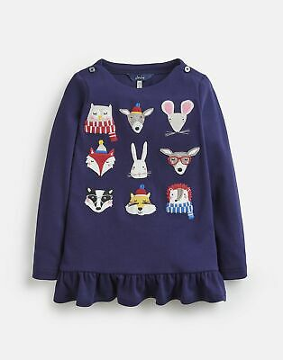 Joules Girls Esme Jersey Peplum Top  - NAVY WOODLAND FACE Size 4yr