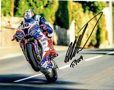 Peter Hickman 2019 Isle of Man Triple TT Winner signed 16 x 12 picture.