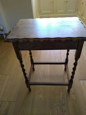 Vintage oak  pie crust occasional  side table with barley twist legs