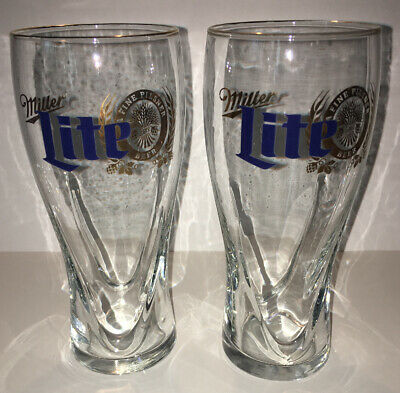 Miller Lite Beer Glasses With Gold Trim Set Of 2