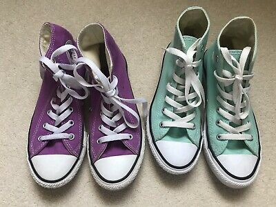 2 Pairs Of Girls Converse All Star High Tops Both Size UK 1.5 Lilac And Teal