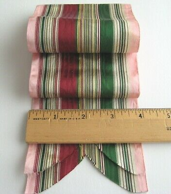 4 Inch Wide Antique Ribbon - Beautiful Blend of Striped Colors - Silk/Taffeta