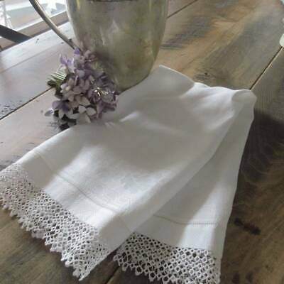Antique Damask Hand Towel with Fine Tatted Lace Trim 25x14