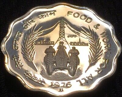 India 1976 FAO 10 Paise Proof Coin B Mint - Lustrous - Scarce - Please See Pics