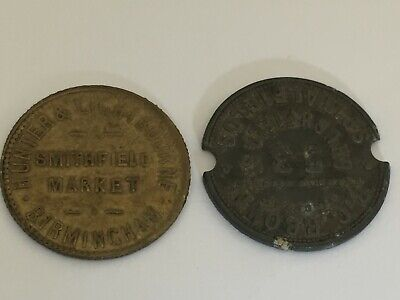 Trade tokens RC BROWN Spitalfields & Hunter & Lightbourne Smithfield