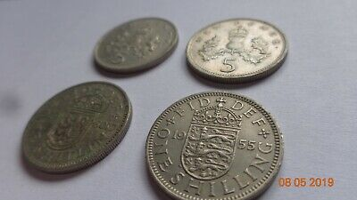 4 x 5p new + shilling GB Britian England British old vintage money coin 1955 /80