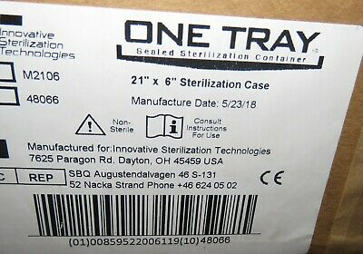 """ONE TRAY SEALED STERILIZATION CONTAINER SURGICAL CASE - 21"""" x 6"""" NEW"""