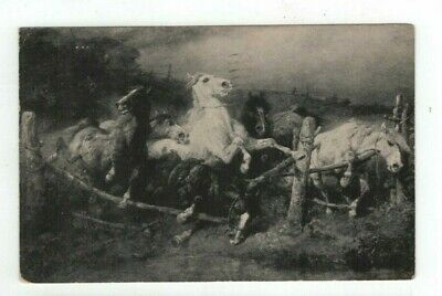 "Antique 1918 Horse Art Post Card ""Fleeing the Flames "" by Adolph Schreyer"