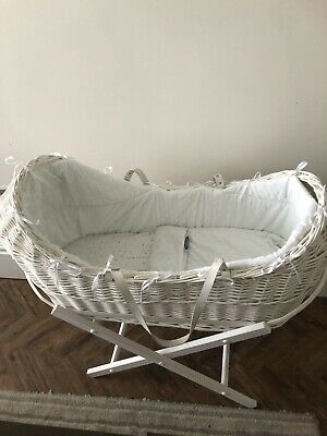 Mothercare White Wicker Moses Basket With Matress, Bedding And Stand
