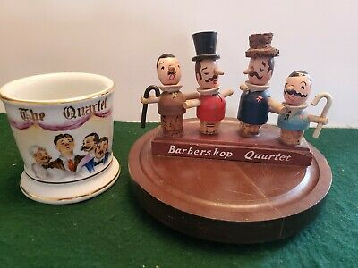 Vintage Barbershop Quartet Wood & Cork Display & The Quartet Shaving Mug