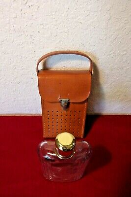 Vintage Glass Flask Stitched Leather Case Shot glass Lid Rare Find