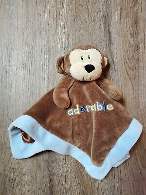 First Impressions Adorable Monkey lovey Blue & Brown Security Blanket Baby plush