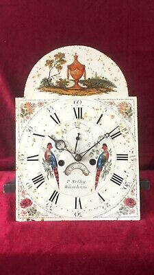English Antique Hand Painted Arched 8 Day Grandfather Clock Dial Movement