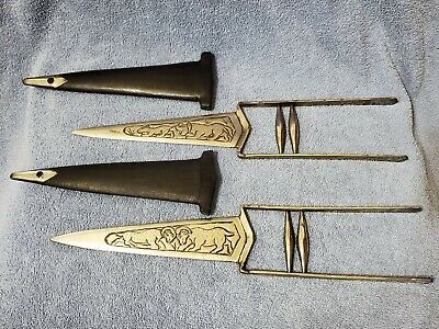 Vintage matched set of engraved Katar - Katara from India Rajput knife dagger