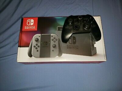 Nintendo Switch 32GB Gray Console in box + Wireless Controller + Thumb Grips