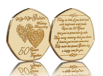 50th GOLDEN WEDDING ANNIVERSARY 24ct Gold Commemorative. Gift/Present 50 Years