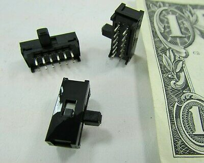Lot 10 Alcoswitch 4-Pole Double Throw 4PDT Slide Switches 2-Position Solder Pins