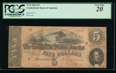 AC T-69 $5 1864 Confederate Currency CSA PCGS 20 comment