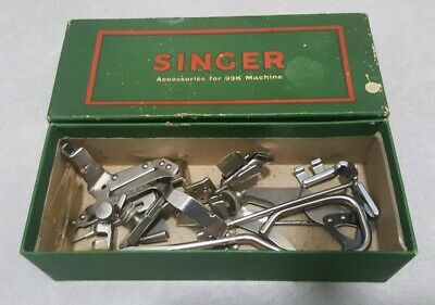 Vintage Singer 99K Sewing Machine Accessories Attachments in Green Box