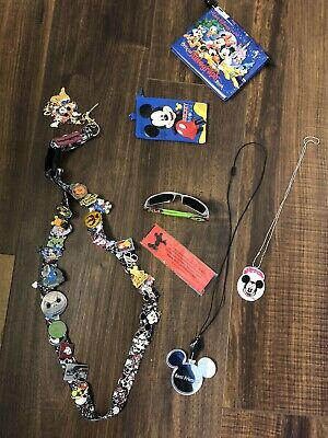 DISNEY PINS 25 DIFFERENT MIXED LOT Necklace  Wallet Autograph Book Glasses Euc