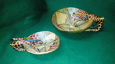 Pair of African Hand Carved and decorated Bowls with Giraffe drinking Handles
