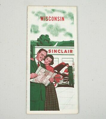 Vintage 1950s Gas Station Road HIghway Map Wisconsin Sinclair Dino