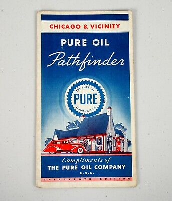 1936 Gas Station Road HIghway Map Pure Oil Co. Pathfinder Chicago & Vicinity