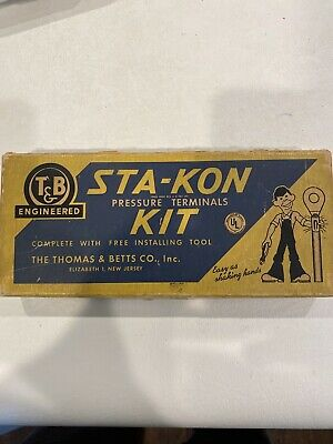 Vintage Thomas and Betts Sta-Kon kit. Wire connectors and crimper.