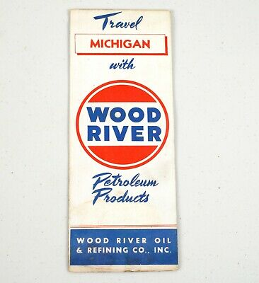 1940s Gas Station Road HIghway Map Wood River Oil Co. Michigan Cat Cracked