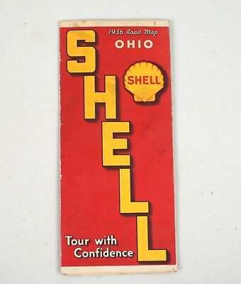 Vintage 1936 Gas Station Road HIghway Map Shell Oil Co. Ohio