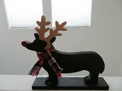 Dachshund Rudolph Tabletop Christmas Holiday Decor Stand Antlers NEW TAGS