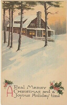 Merry Christmas Greeting Postcard House in the Woods Pink of Perfection