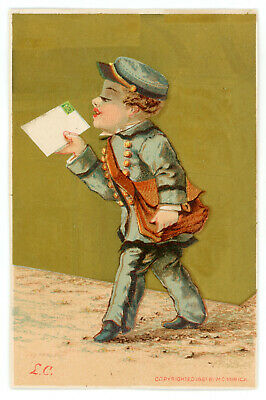Antique 1881 Victorian Trade Card Mailman Postal Worker Letter Carrier MC Mirick