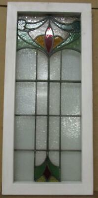"MIDSIZE OLD ENGLISH LEADED STAINED GLASS WINDOW Pretty Floral 14.5"" x 32.25"""
