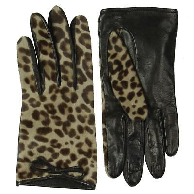 Coach Womens Ocelot Brown Leather Animal Print Leather Gloves O/S 7.5 BHFO 1854