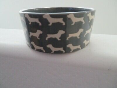 Winifred & Lily Gray Stoneware DACHSHUND Dog Food Water Bowl NEW