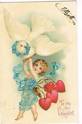 ANTIQUE EMBOSSED VALENTINE Postcard     CUPID AND DOVE IN AIR, FORGET-ME-NOTS