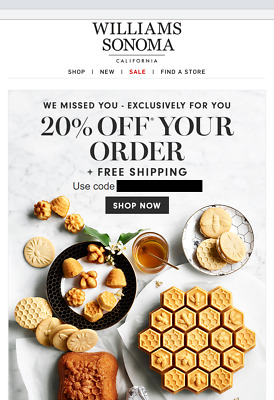 20% Off WILLIAMS SONOMA Entire Purchase + Shipping (exp. 6/7/20) (not 15% 10%)