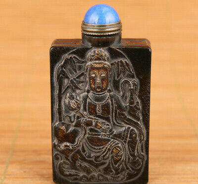 chinese yak horn hand carved kwan-yin spider statue snuff bottle collectable