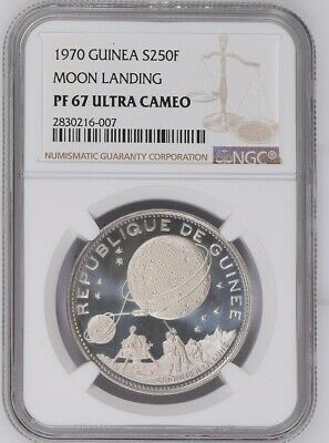 1970 GUINEA .999 SILVER 250 FRANCS NGC PF 67 ULTRA CAMEO Moon Landing