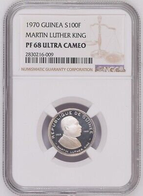 1970 Guinea 100 francs .999 silver NGC PF68 Ultra Cameo Martin Luther King