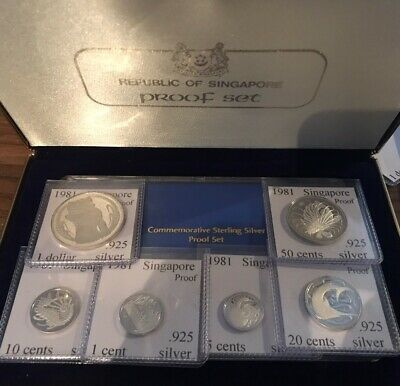 1981 Singapore Sterling Silver Proof Set With Mint Case