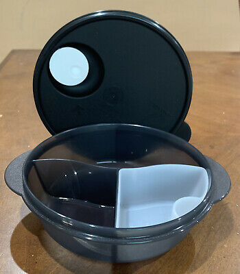 Tupperware New Black Microwave Lunch Bowl Divided Dish Vented & Cold Cup 4 Cups