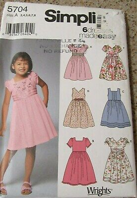 Simplicity Children's 6 Easy Dress Patterns  Sizes 3 - 8
