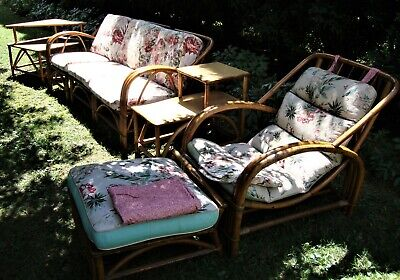 Vintage Bamboo Patio Furniture Set - 3 pc Sofa, Chaise/Lounger, 2 tiered Tables