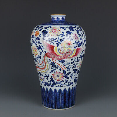 "11.8"" Yongzheng marked Blue and white Porcelain famille rose dragon phoenix vase"