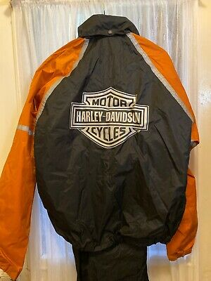 Harley-Davidson Rain Suit Adult XS Extra Small Reflective 2 Piece Overalls