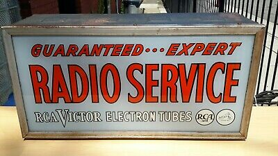 Original 1940s Illuminated RCA VICTOR RADIO SERVICE Counter Advertising Sign