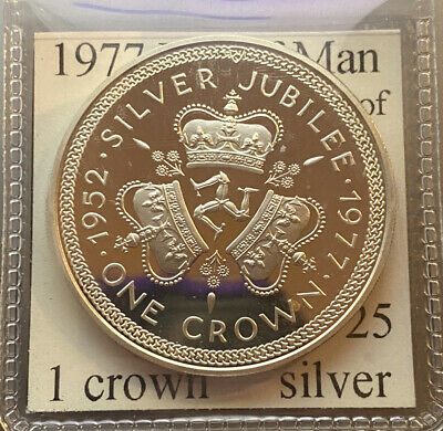 1977 Isle Of Man 1 Crown Sterling Silver Proof
